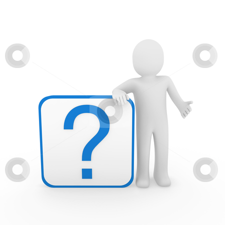 3d man question mark blue stock photo, 3d man human question mark blue cube think by d3images