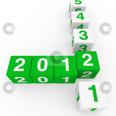 New year cube green white stock photo, 2011 2012 happy new year green 3d cube by d3images