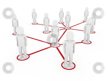 3d men network social red stock photo, 3d men network social red people connection teamwork by d3images