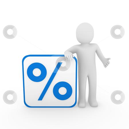 3d man sale percentage blue stock photo, 3d man human sale percentage blue cube sell by d3images
