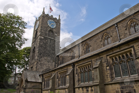 Haworth Parish Church stock photo, The Parish Church of St Michael and All Angels in Haworth Yorkshire under a blue summer sky by d40xboy