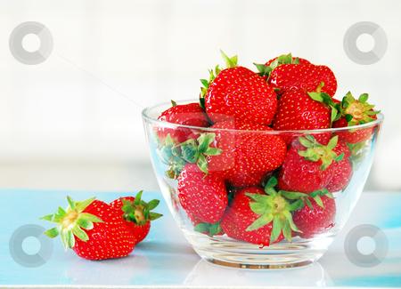 Appetizing red strawberries stock photo, fresh appetizing red strawberries in glass bowl by Julija Sapic