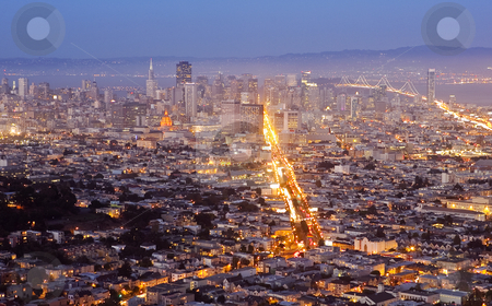 Downtown San Francisco at Dusk stock photo, Downtown San Francisco at dusk as the city lights come up. by Bryan Mullennix