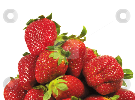 Strawberries stock photo, Strawberries stacked up on white background by manavshital