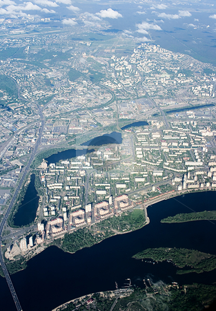 View from above on city Kyiv stock photo, View from above on city Kyiv - height a 5000 m by Tatjana Keisa