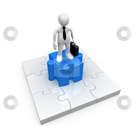 Business Solution stock photo, 3d person standing on the middle piece of a jigsaw puzzle. by Konstantinos Kokkinis