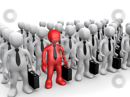 Standing Out Of The Crowd stock photo, Unique business person among a team of business people. by Konstantinos Kokkinis