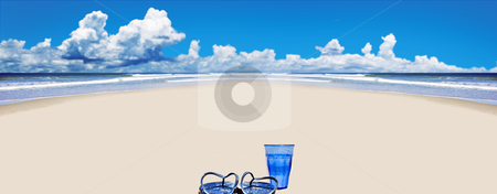 Tropical beach with stock photo, Tropical beach with beach shoes and blue glass of water by tish1