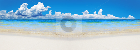 Tropical beach with copy space for text stock photo, Tropical beach with wide open space for text by tish1
