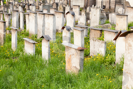 Old Jewish cemetery stock photo, Old Jewish cemetery is located beside the Remuh Synagogue at 40 Szeroka Street in the historic Kazimierz district of Kraków. by Mariusz Jurgielewicz