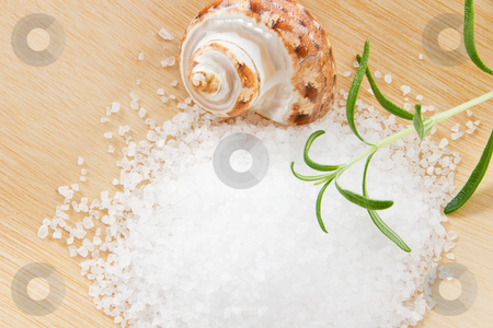 Close up of Bath Salts and Rosemary stock photo, Aromatic rosemary and sea salt scrub arranged on a bamboo tray by Karen Sarraga