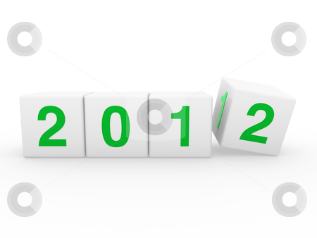 New year cube  2012 stock photo, 2012 happy new year green 3d cube by d3images