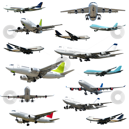 Plane collection. High resolution stock photo, Collection with many planes on a clean white background. 5000 x 5000 pixels by Lars Christensen
