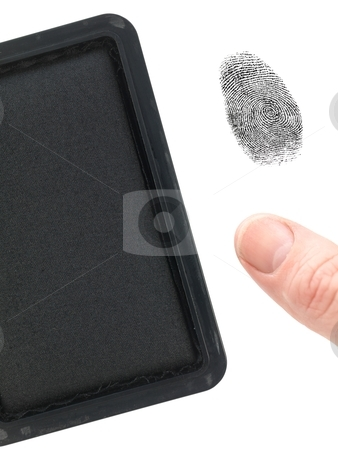 Finger Print stock photo, A finger print and a stamp pad isolated against a white background by Kitch Bain