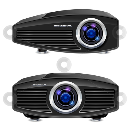 Realistic multimedia projector stock photo, Realistic multimedia projector. Illustration on white background for design by dvarg