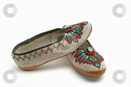 Folk slippers from the Polish highlanders stock photo, slippers decorated with traditional embroidery very wellknown in the area of zakopane in poland by marekusz