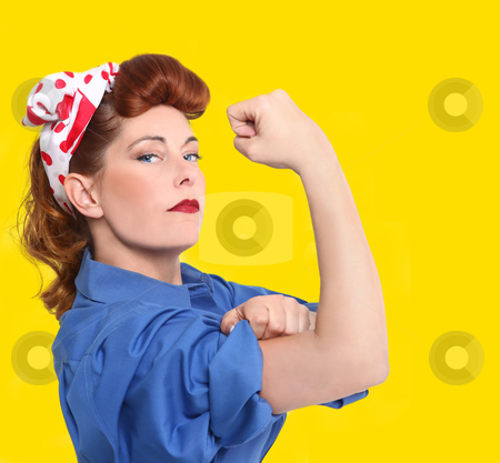 iconic image of a female factory worker from the 1950 era stock photo