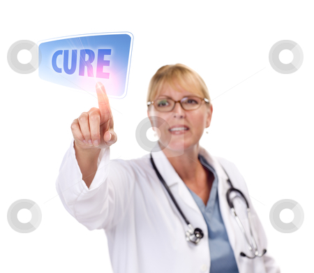 Female Doctor Touching Cure Button on Touch Screen stock photo, Attractive Female Doctor Touching a Cure Button on Touch Screen. by Andy Dean