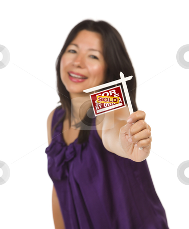 Multiethnic Woman Holding Small Sold For Sale By Owner Real Esta stock photo, Attractive Multiethnic Woman Holding Small Sold For Sale By Owner Real Estate Sign in Hand Isolated on White Background. by Andy Dean
