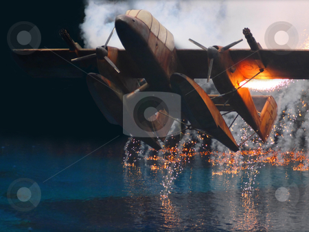 Crash landing stock photo, seaplane in flames crash landing by zkruger