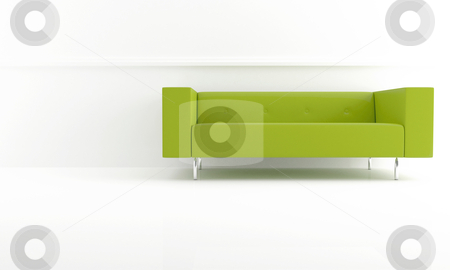 Green modern sofa stock photo, green modern style sofa in white luminous room by Giordano Aita