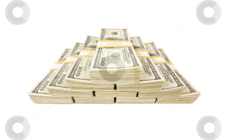Stacks of One Hundred Dollar Bills on White stock photo, Stacks of One Hundred Dollar Bills Isolated on a White Background. by Andy Dean