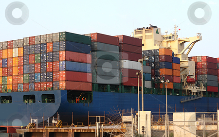 Container Ship  stock photo, Container Ship close up in hong kong container station by Keng po Leung
