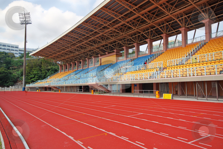 Track Lanes and Stadium  stock photo, Track Lanes and Stadium  by Keng po Leung
