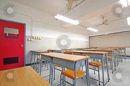 Empty big classroom at school stock photo, Empty big classroom at school by Keng po Leung