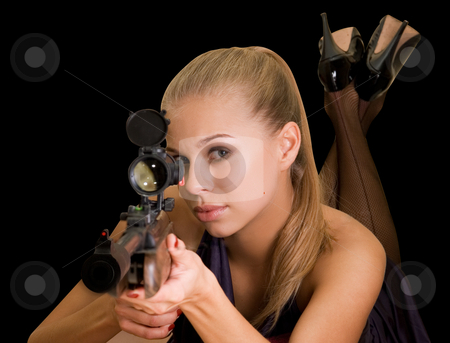 Sniper stock photo, Beauty blond girl with a gun on a black background by olinchuk