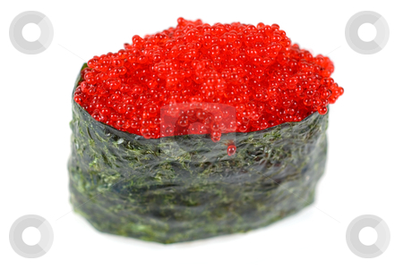 Red tobiko sushi stock photo, Red tobiko (flying fish roe) sushi closeup by olinchuk