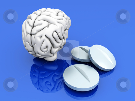 Brain Pills stock photo, Some pills for the Brain. Symbolic for Drugs, Psychopharmaceuticals, Nootropics and other Medications. 3d rendered Illustration. by Michael Osterrieder