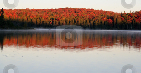 Fall Dawn stock photo, The first light of dawn shining on the beautiful autumn colors of Algonquin Park in Ontario, Canada.  by Chris Hill