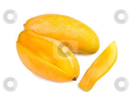 Delicious mango fruit  stock photo, delicious mango fruit and slice on white background, tropical fruit. by Lawren