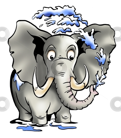 Elephant spraying water with the trunk stock photo, Elephant spraying water with the trunk  by DrawShop - Poul Carlsen
