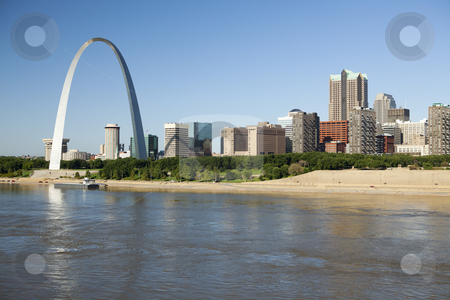 St Louis, skyline photography stock photo, St Louis, Missouri Skyline along the Mississippi River by Bryan Mullennix