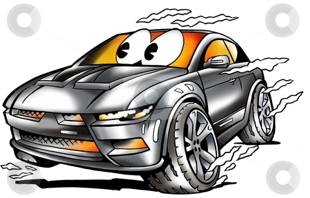Grey Sports Car racing in full speed  stock photo, Grey Sports Car racing in full speed  by DrawShop - Poul Carlsen