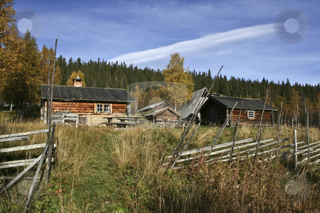Old house stock photo, Old wood houses in north of Sweden by Ingvar Bjork