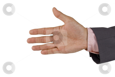 Open business hand stock photo, open business hand isolated on white background, help concept  by caimacanul