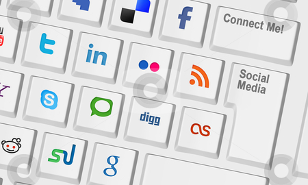 Computer keyboard with social media keys stock photo, Computer keyboard with special keys for social media by marphotography