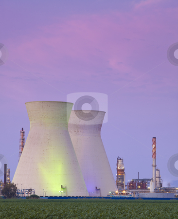 Nuclear power station at sunset stock photo, A coal power station and sunset   by Dmitry Pistrov