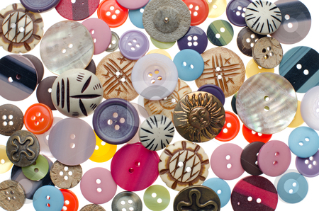 Assorted buttons stock photo, Assorted buttons as colorful background. Sewing accessories. by Homydesign