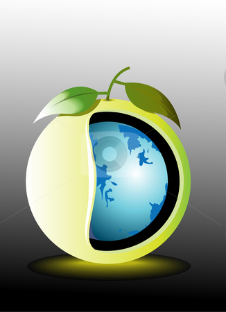 World Map and apple  stock photo, Digital illustration of World Map and apple by dileep