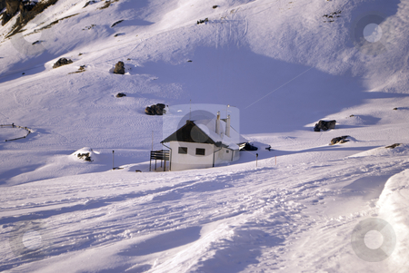 Mountain retreat stock photo, mountain retreat in the Dolomites in winter by freeteo