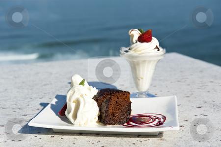 Warm chocolate pudding and ice cream stock photo, Warm chocolate pudding and ice cream on a tropical island by tish1