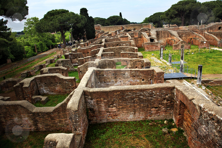 Ancient Roman Ruins Ostia Antica Rome Italy stock photo, Ancient Roman Ruins Ostia Antica Ruins Rome Italy Excavation of Ostia, ancient Roman port, next to airport.  Was port for Rome until 5th Century AD.  by William Perry