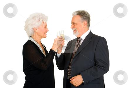 Elegant elderly couple toasting stock photo, elegant elderly couple toasting by ambrophoto
