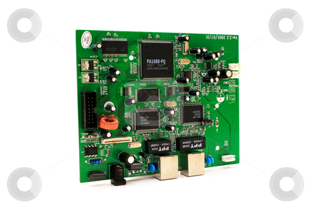 Computer circuit board placed on white background stock photo, Green computer circuit board placed on white background by vetdoctor