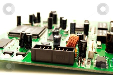 Foto of green computer circuit board transistors stock photo, Zoomed foto of green computer circuit board transistors by vetdoctor