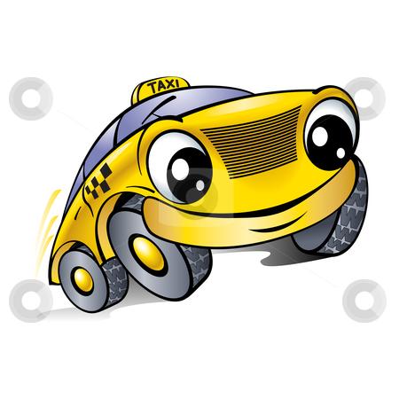 Car with a laughing face. Taxi.  stock photo, Car with a laughing face. Taxi. Illustration on white. by dvarg